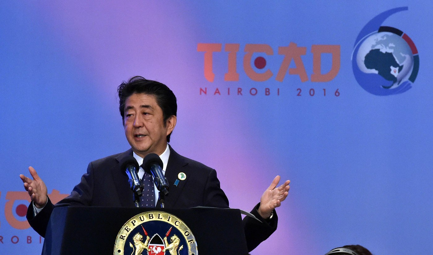 (in the Pic - Japanese Prime Minister Abe Shinzo addressing the TICAD VI in Nairobi, Kenya). President Jacob Zuma is in Kenya to participate in the 6th Summit of the Tokyo International Conference on African Development (TICAD VI) taking place in Nairobi, in the Republic of Kenya. The TICAD process was initiated in 1993 as an advocacy platform for African Development specifically aimed at mobilising humanitarian aid and Official Development Assistance (ODA). TICAD is a partnership between Africa and Japan.